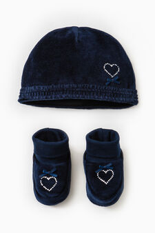 Set consisting of beanie cap and shoes, Blue, hi-res