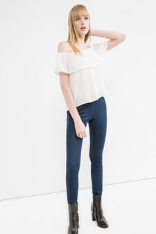 Stretch jeggings with high waist, Dark Wash, hi-res