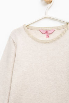 Cotton blend pullover with tulle flounces, Beige, hi-res