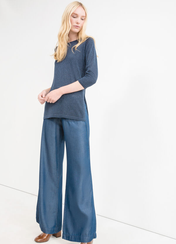 Pullover with three-quarter sleeves and splits   OVS