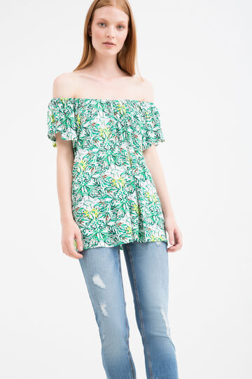 Patterned viscose T-shirt, White/Green, hi-res