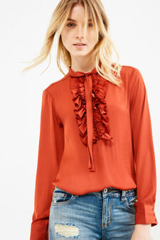 Solid colour blouse with flounces, Brick Red, hi-res