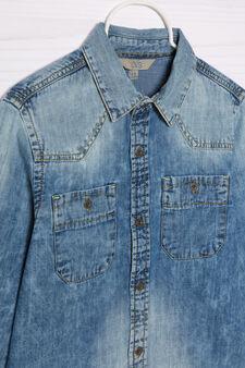 Camicia di jeans effetto delavé, Blu chiaro, hi-res