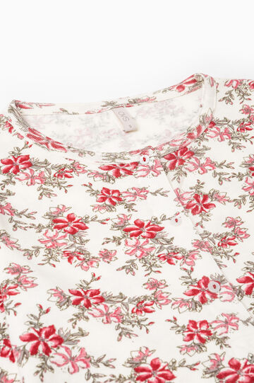 Nightdress with floral print, Cream White, hi-res