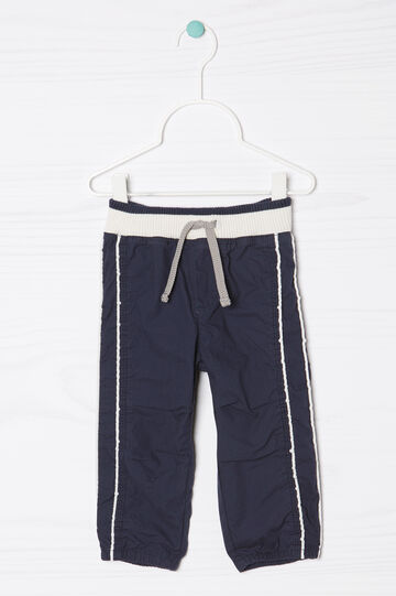Pantaloni puro cotone con coulisse, Blu navy, hi-res