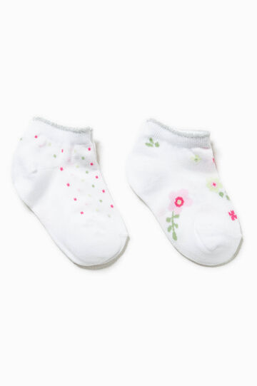 Two-pair pack embroidery and polka dot socks, Multicolour, hi-res