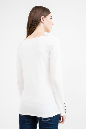 100% cotton T-shirt with button sleeves, White, hi-res