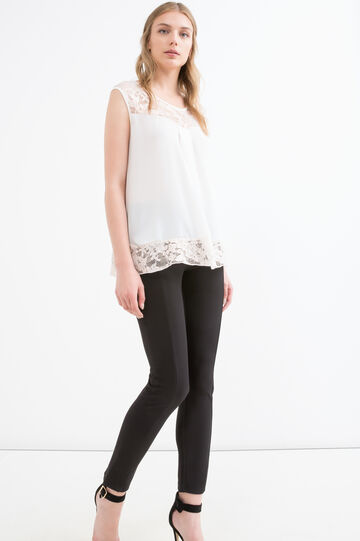 Stretch top with lace inserts, White, hi-res