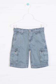Solid colour 100% cotton Bermuda cargo shorts, Petrol Blue, hi-res