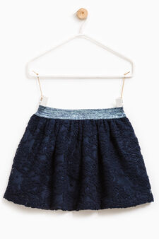 Lace skirt with elasticated waist, Blue, hi-res