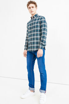 Check patterned casual shirt, Blue/Green, hi-res