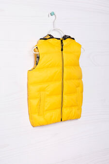 Camouflage quilted and hooded waistcoat, Yellow, hi-res