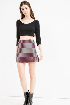 High waisted stretch viscose skirt with stripes, Claret Red, hi-res