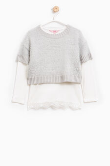 Crop pullover with T-shirt lining, White/Light Blue, hi-res