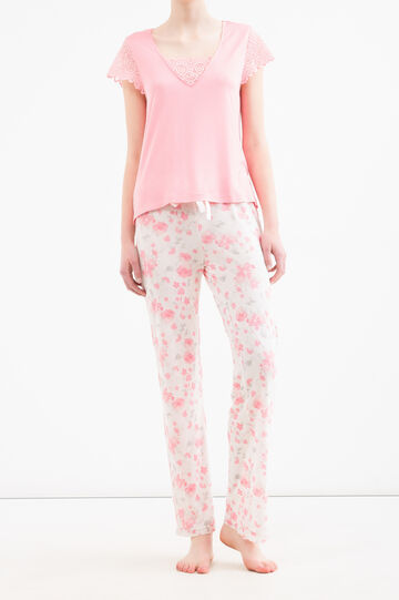 Patterned viscose pyjama trousers, White/Pink, hi-res