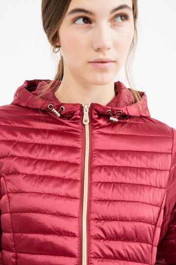 Lightweight down jacket with hood, Red, hi-res