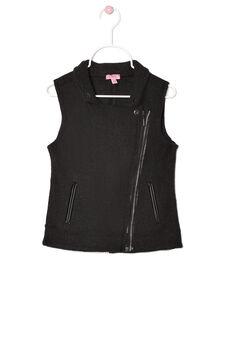 Plain wool blend waistcoat, Black, hi-res