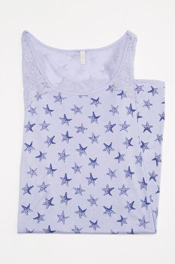 Camicia da notte con inserto pizzo, Azzurro, hi-res