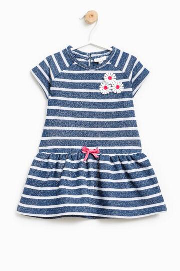 Vestido de rayas con mangas cortas y flores, Blanco/Azul, hi-res