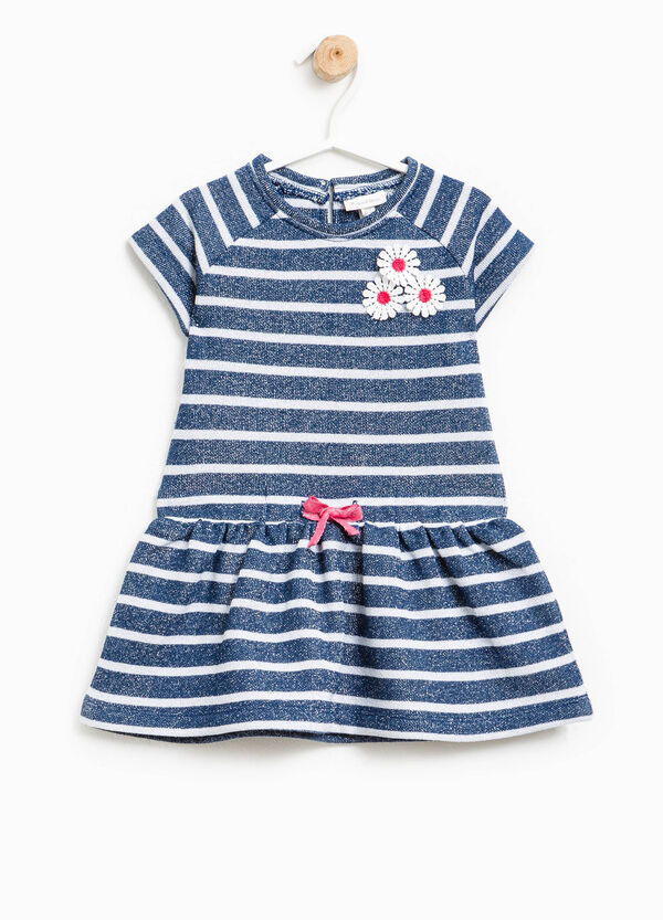 Short-sleeved striped dress with flowers | OVS