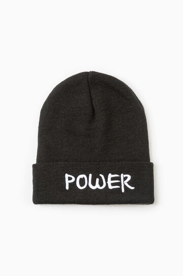 Beanie cap with embroidered lettering, Black, hi-res