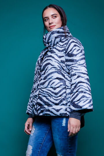 Curvy animal print down jacket with high neck, Black/Grey, hi-res