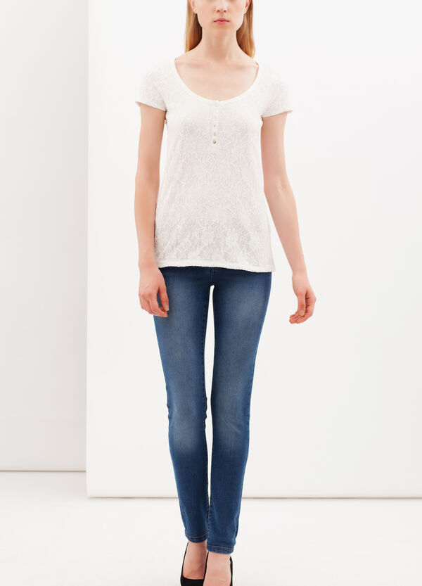 Lace T-shirt with Granddad collar | OVS