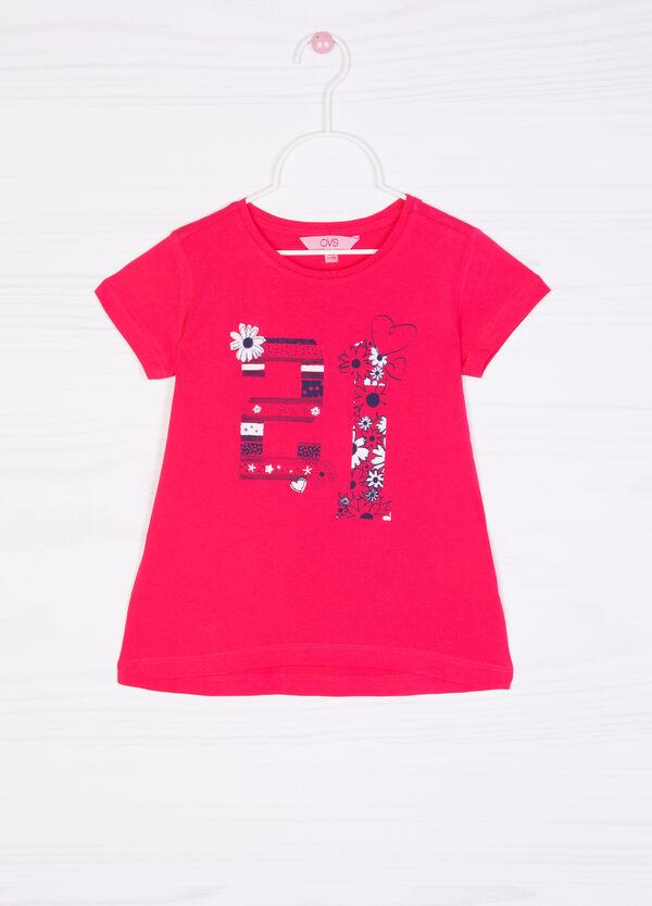 T-shirt cotone stampa glitterata   OVS