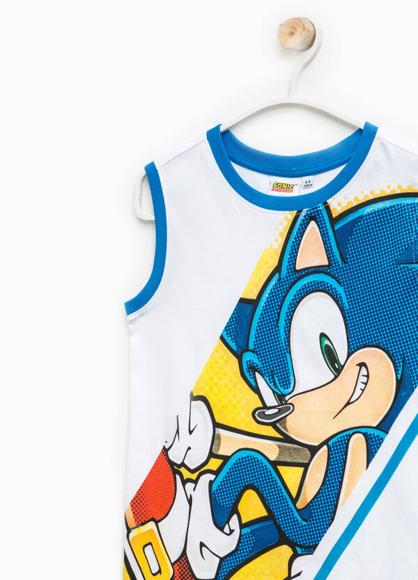 Cotton vest with Sonic print | OVS