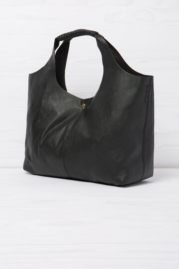 Solid colour shoulder bag, Black, hi-res