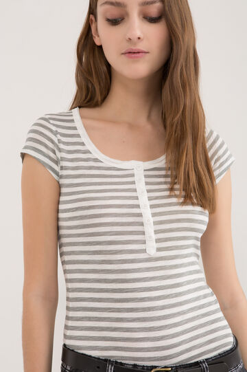 Striped T-shirt in 100% cotton, Grey, hi-res