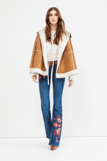 Solid colour suede cape, Ecru Brown, hi-res