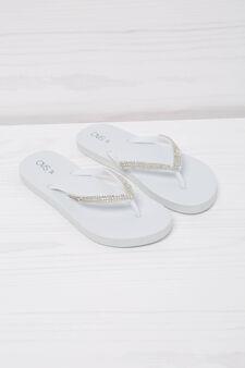 Diamanté thong sandals, White, hi-res