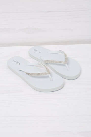 Diamanté thong sandals, White, hi-res