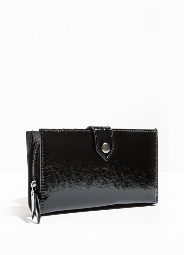 Shiny wallet with striped weave | OVS