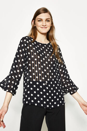 Polka dot blouse with striped weave