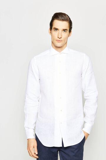 Camicia Rumford in puro lino, Bianco, hi-res