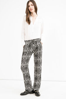 Patterned trousers with drawstring, Black, hi-res