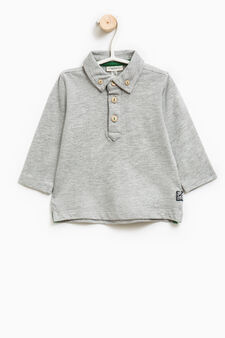 Stretch cotton polo shirt with button-down collar, Grey Marl, hi-res