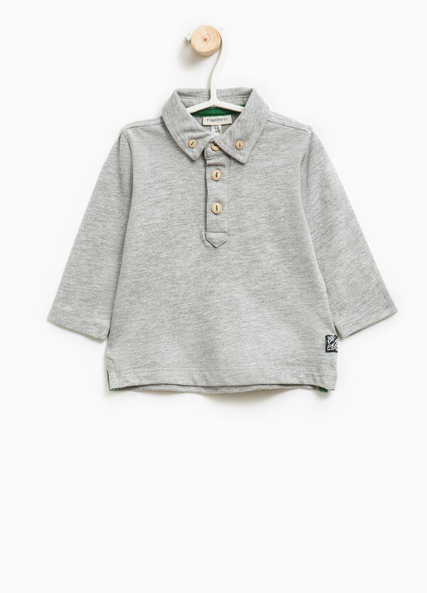 Stretch cotton polo shirt with button-down collar | OVS
