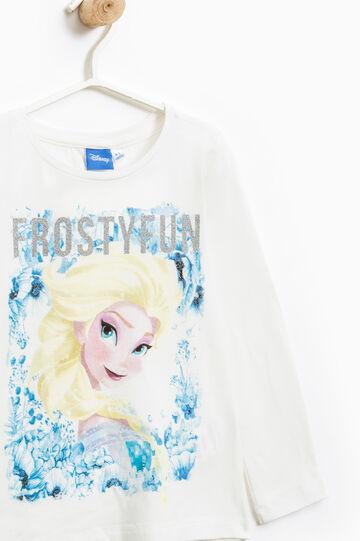 Cotton T-shirt with maxi Frozen print, White, hi-res