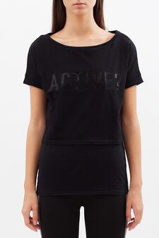 T-shirt sportiva corta con stampa, Nero, hi-res