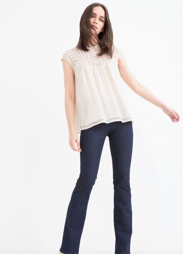 Blouse with openwork insert | OVS