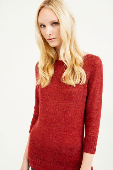 Knitted mohair wool and viscose pullover, Red, hi-res
