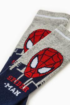 Stretch cotton Spiderman socks, Blue/Grey, hi-res
