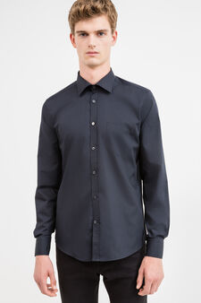 Slim-fit formal shirt in cotton blend, Black, hi-res