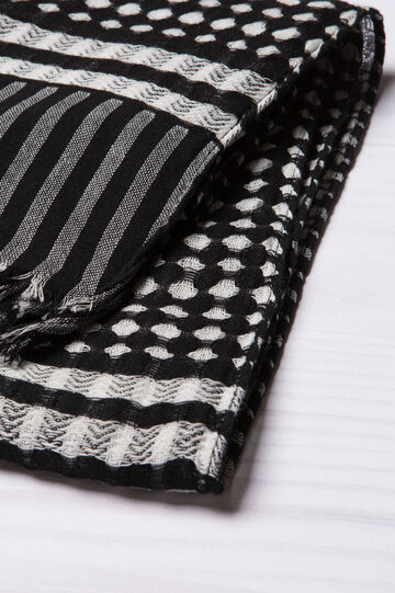Patterned scarf in 100% cotton, Black, hi-res