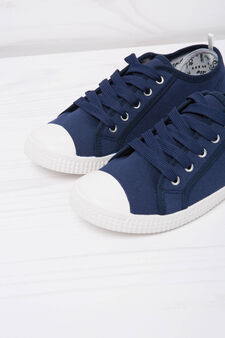 Solid colour low-rise sneakers., Navy Blue, hi-res