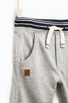 Solid colour cotton joggers with patch, Grey Marl, hi-res