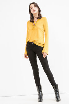 100% viscose T-shirt with eyelets, Yellow, hi-res